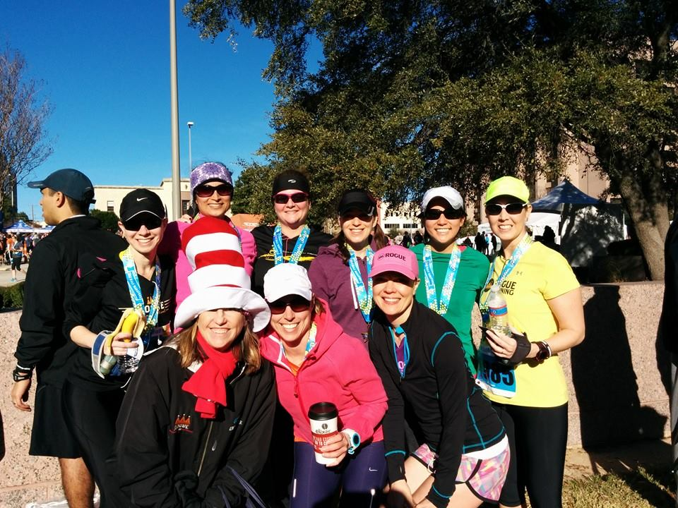 Carolyn Mangold   (in the cat-in-the-hat hat)    I coach:   Northside Runaways  (year round group - Anderson HS - Wed PM)   Background:  one of the founders of Rogue Running!   Years Coaching:  12 years+   Most memorable run/race:  The Tahoe Triple   Interesting fact:  Look for me on race days. I'll be wearing the Cat in the Hat hat.