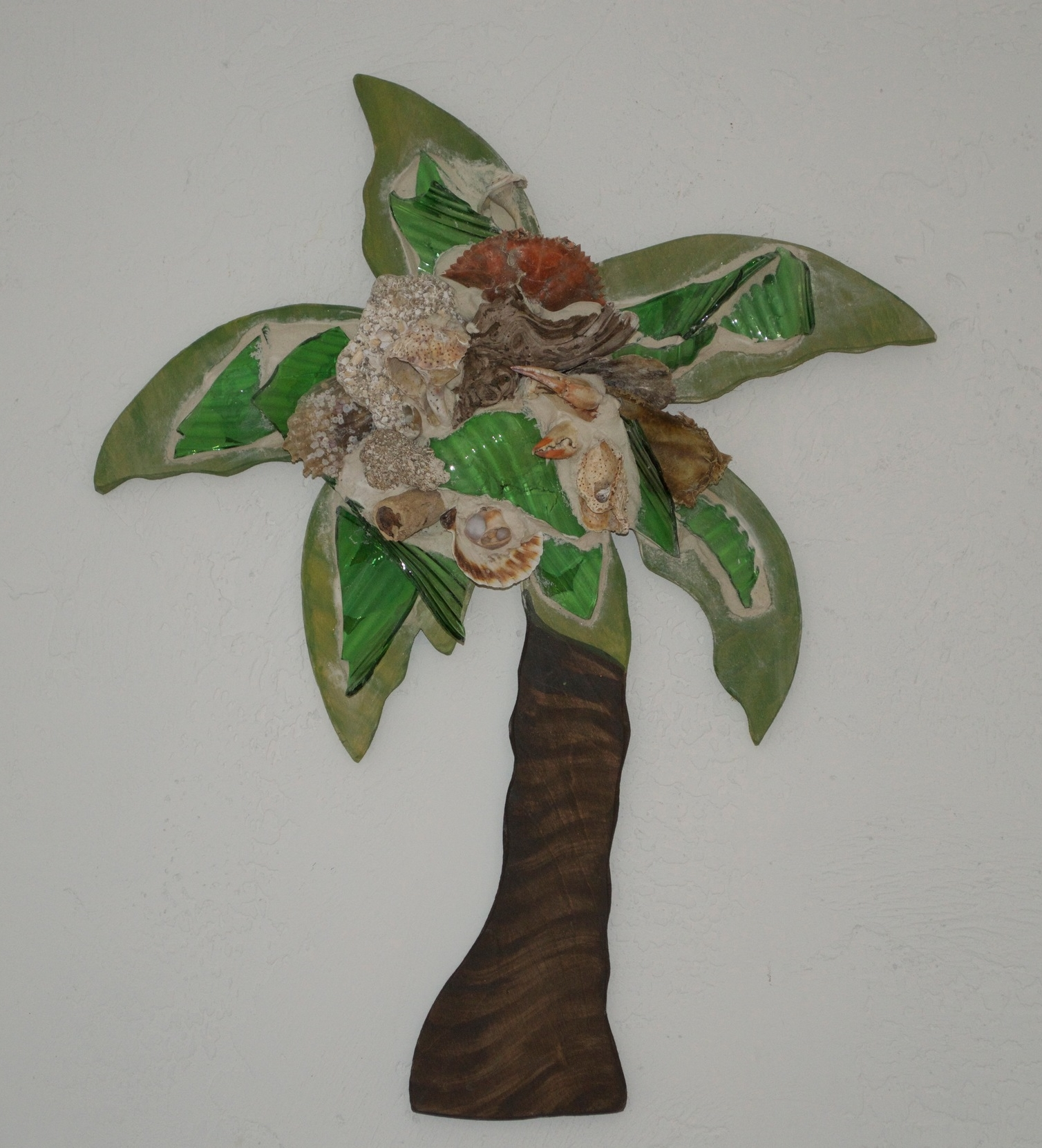 "Beach Art - Palm Tree - wood, glass, beach objects - small 11"" x 12"", $58 - large 21"" x 25"", $84"