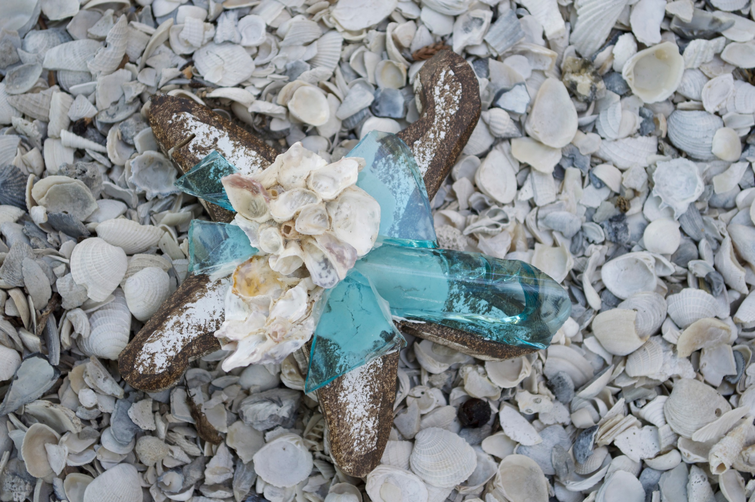 "Beach Art - Sm. Star Fish - wood, glass, shells - 3/4"" thick, 5"" wide - $18"