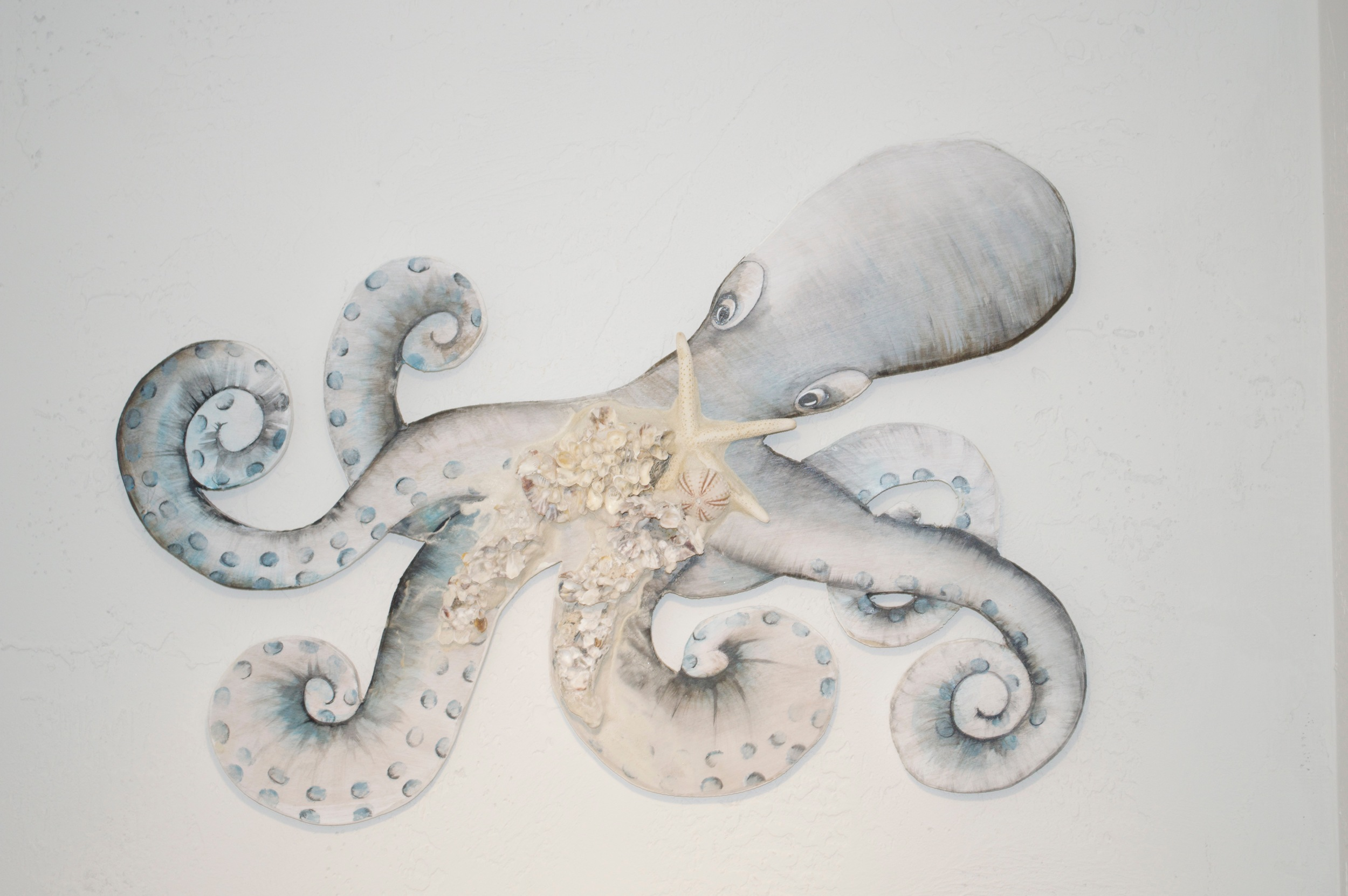 """Beach Art - Octopus - wood, glass, shells - 26"""" x 15"""" - $149"""