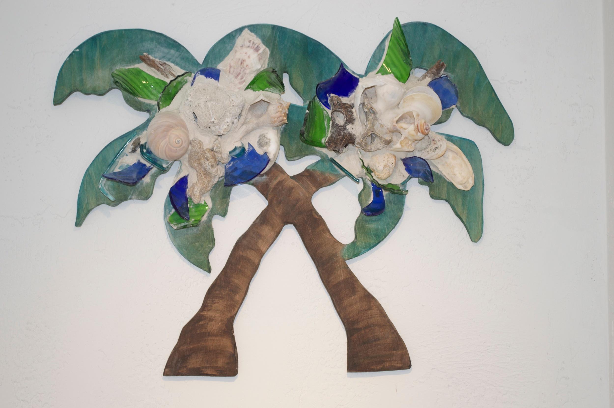 "Beach Art - Double Palm - wood, glass, beach objects - 25"" x 20"" - $149"