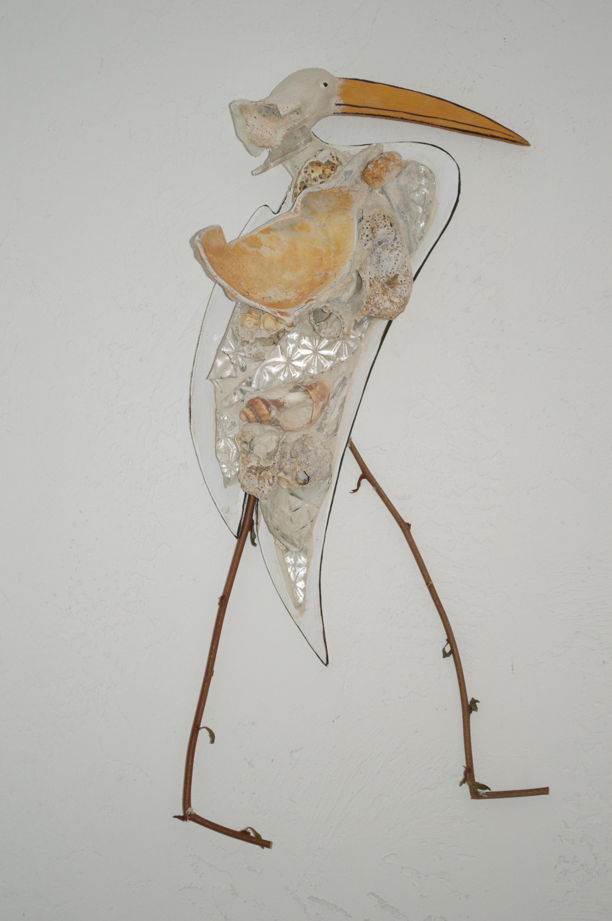"Beach Art - Egret - wood, glass, shells, twigs - sm. 9"" x 20"", $58, large 11"" x 22"", $85"