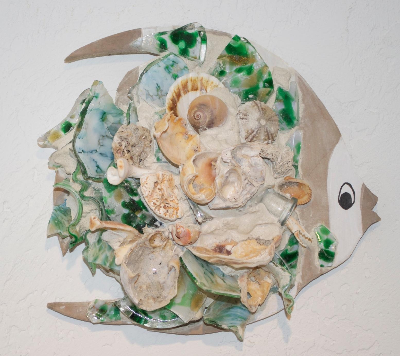 "Beach Art - Angel Fish - wood, glass, shells - med. 10"" x 10"", $45, large 14"" x 16"", $84"