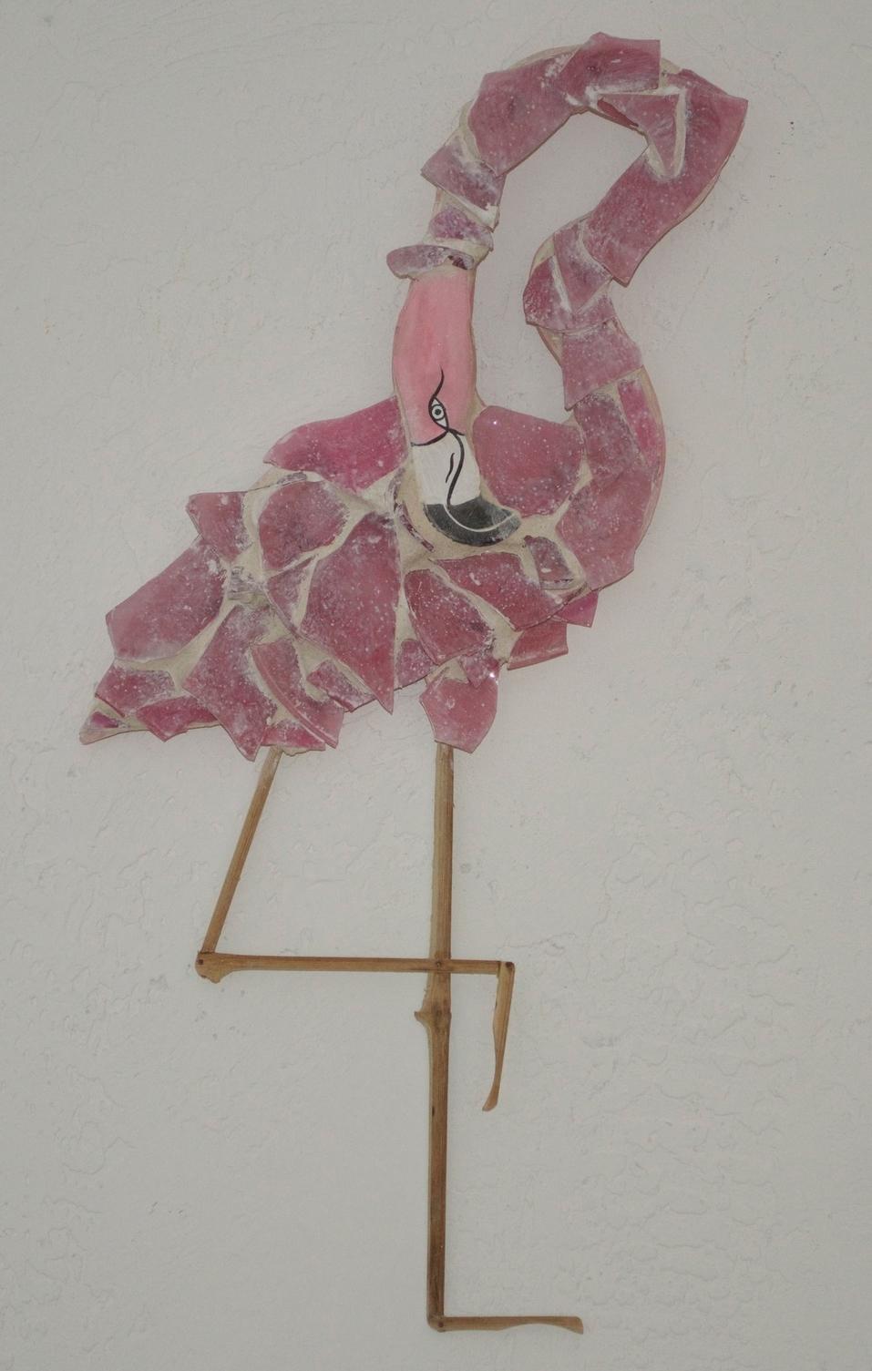 "Beach Art - Flamingo - wood, glass, bamboo - 9"" x 21"" - $65"