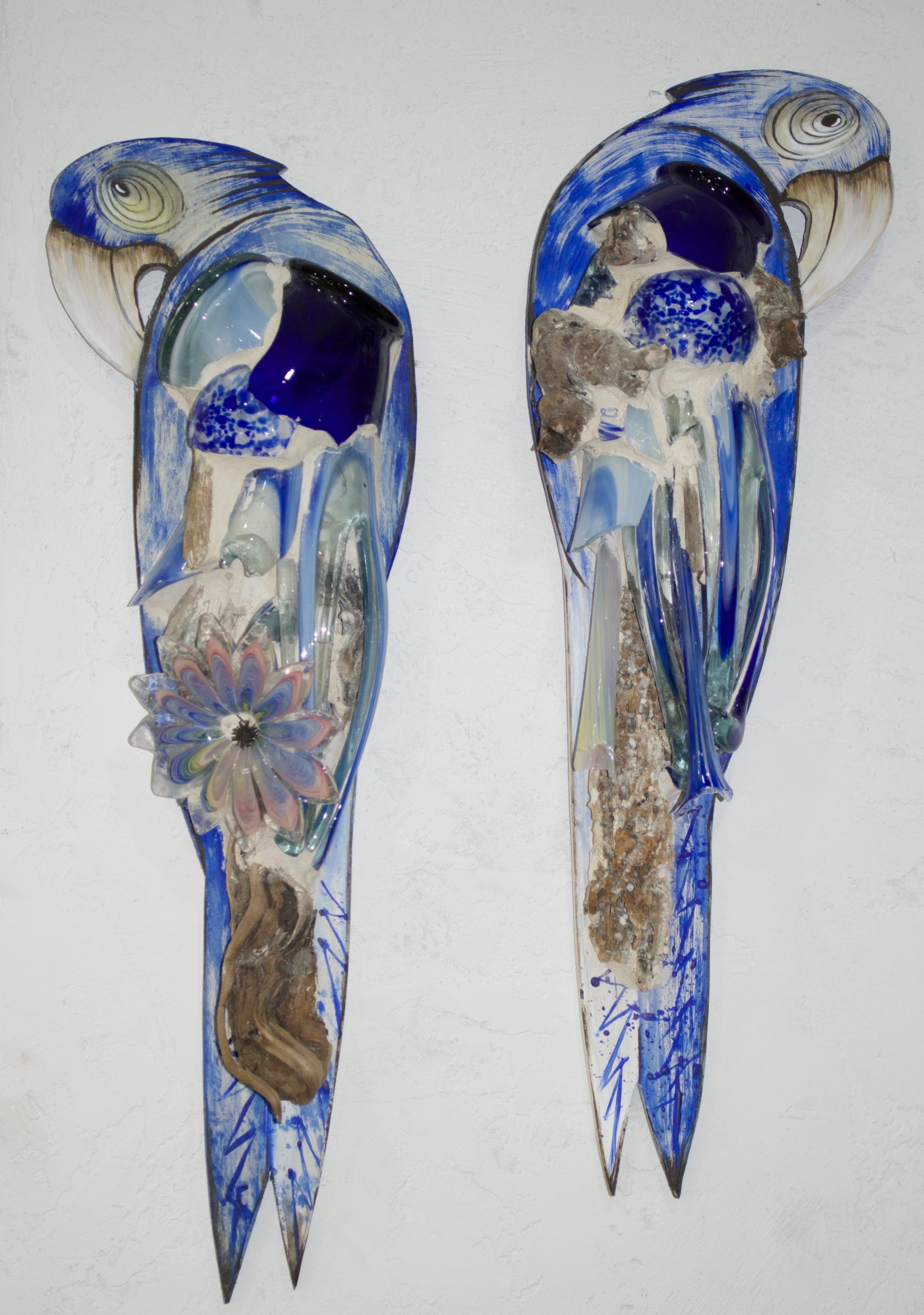 """Beach Art - Parrots - wood, glass, beach objects - 9"""" x 27"""" - $128"""