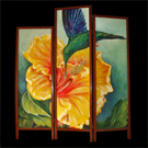 Hibiscus & Hummingbird - acrylic on wood, jatoba frame - SOLD