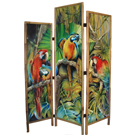 Parrots in Midnight Sun - acrylic on wood, bamboo frame - SOLD
