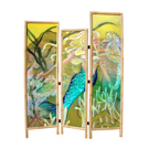 Mermaid & Seahorse - acrylic on wood, bamboo frame - SOLD