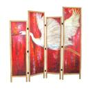 White Heron Sunset - acrylic on wood, bamboo frame - SOLD
