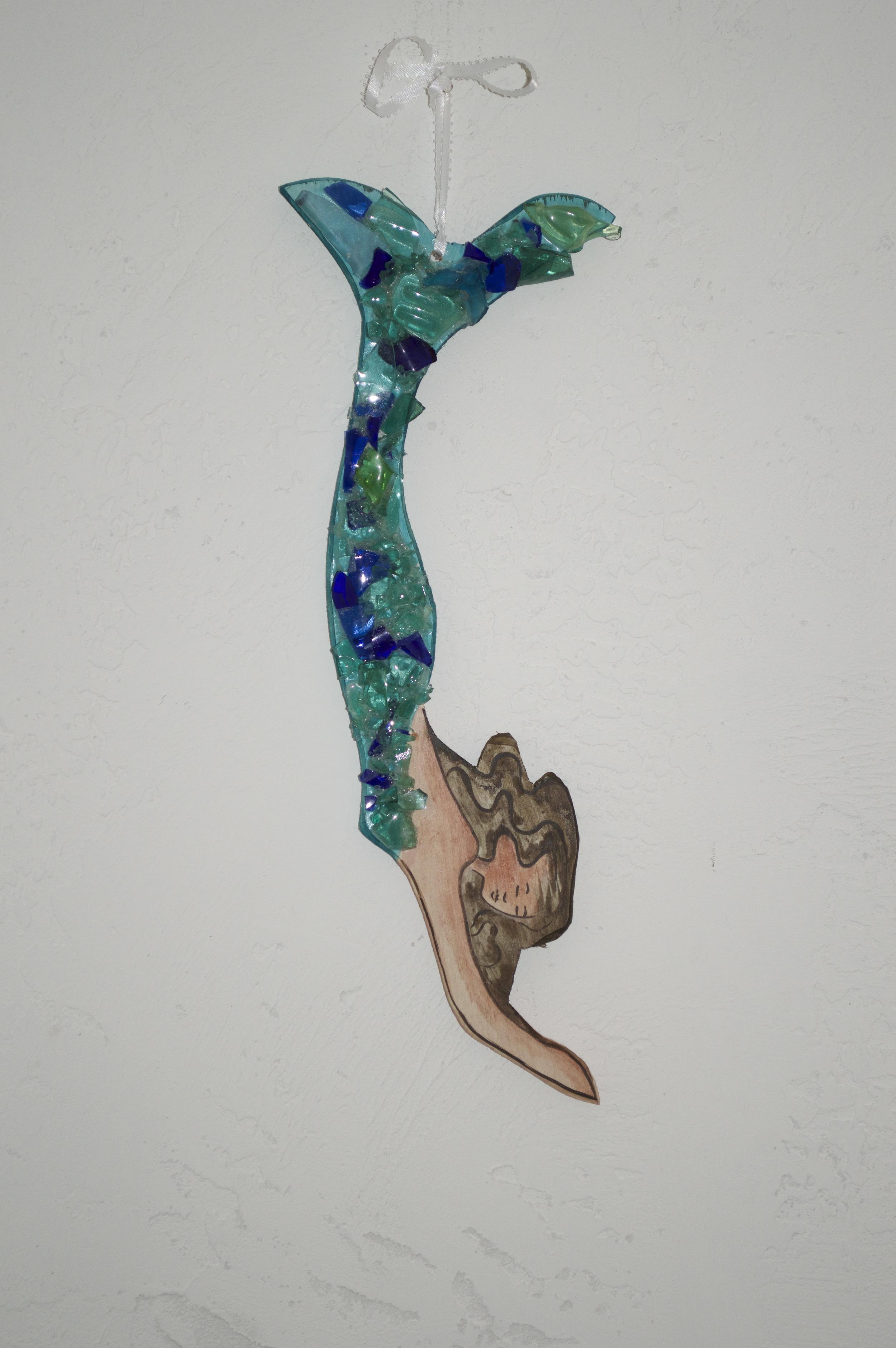 "Beach Art- Diving Mermaid wood,glass - sm. 11"" x 4"", $36, large 17"" x 5"", $45"