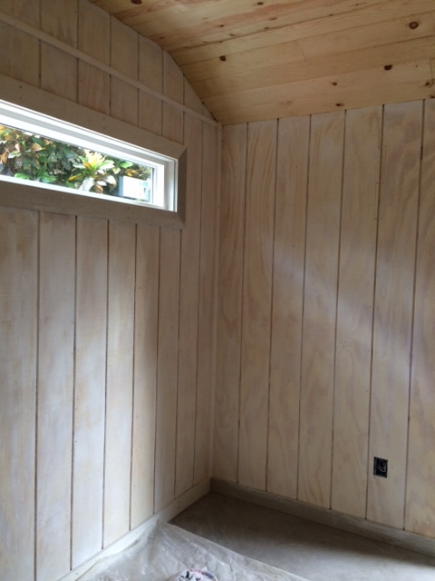 Residential Studio pickled wood wall