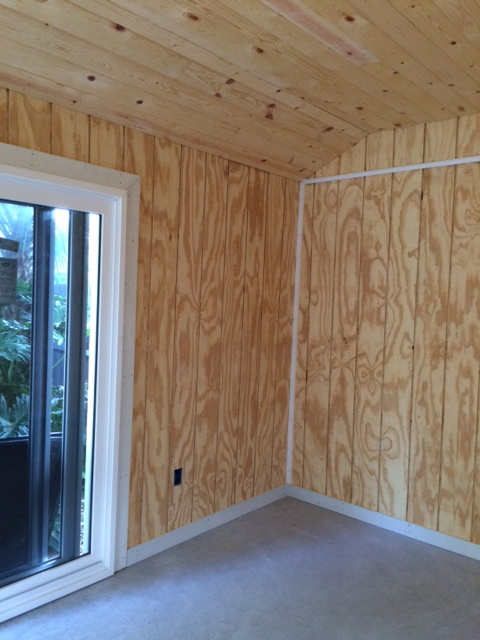 BEFORE Residential Studio pickled wood wall