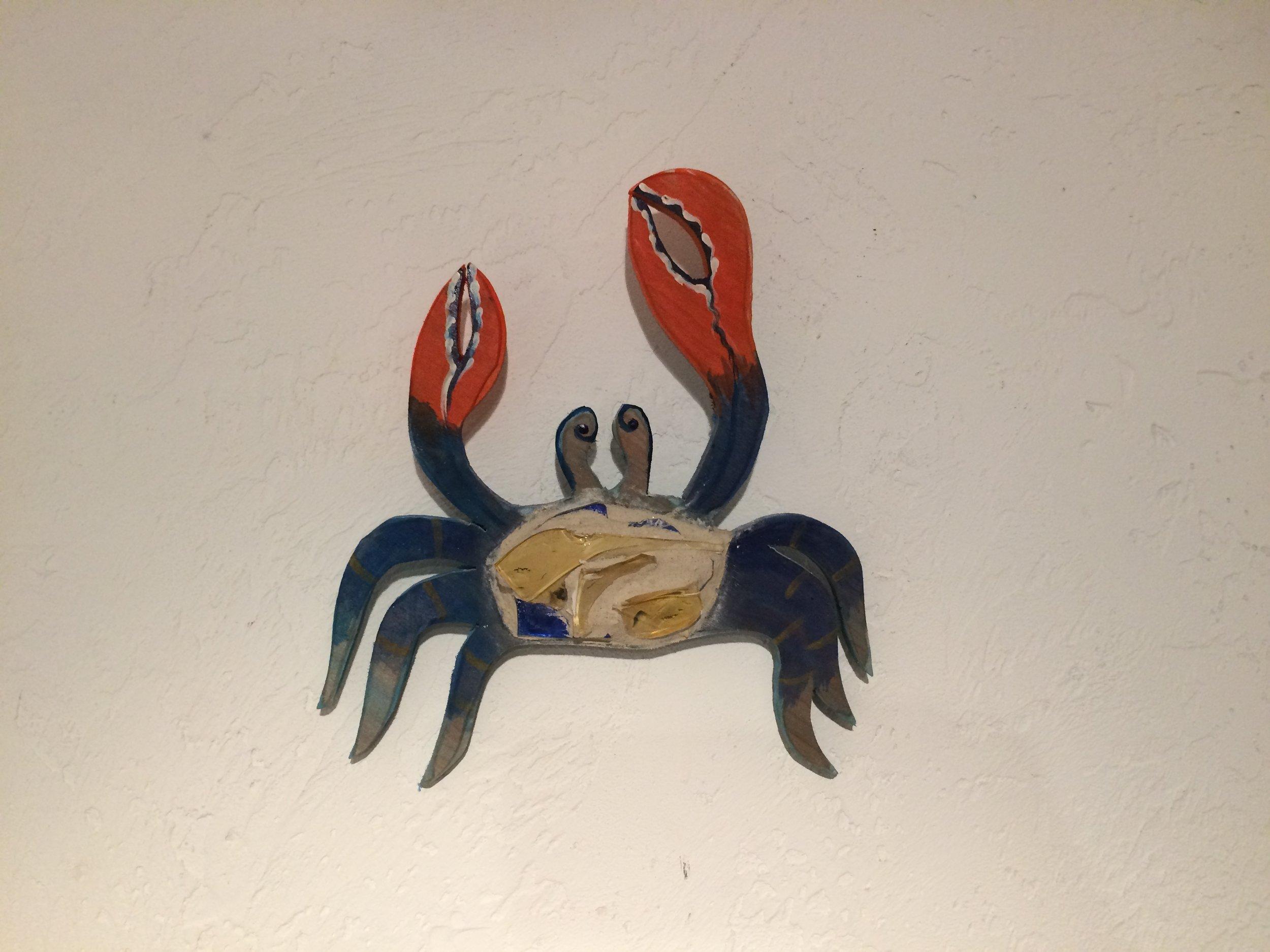 "Beach Art- Blue Crab, wood, glass mosaic sm. 9""x 10"" $36.00, lg 14"" x 14"" $55.00"