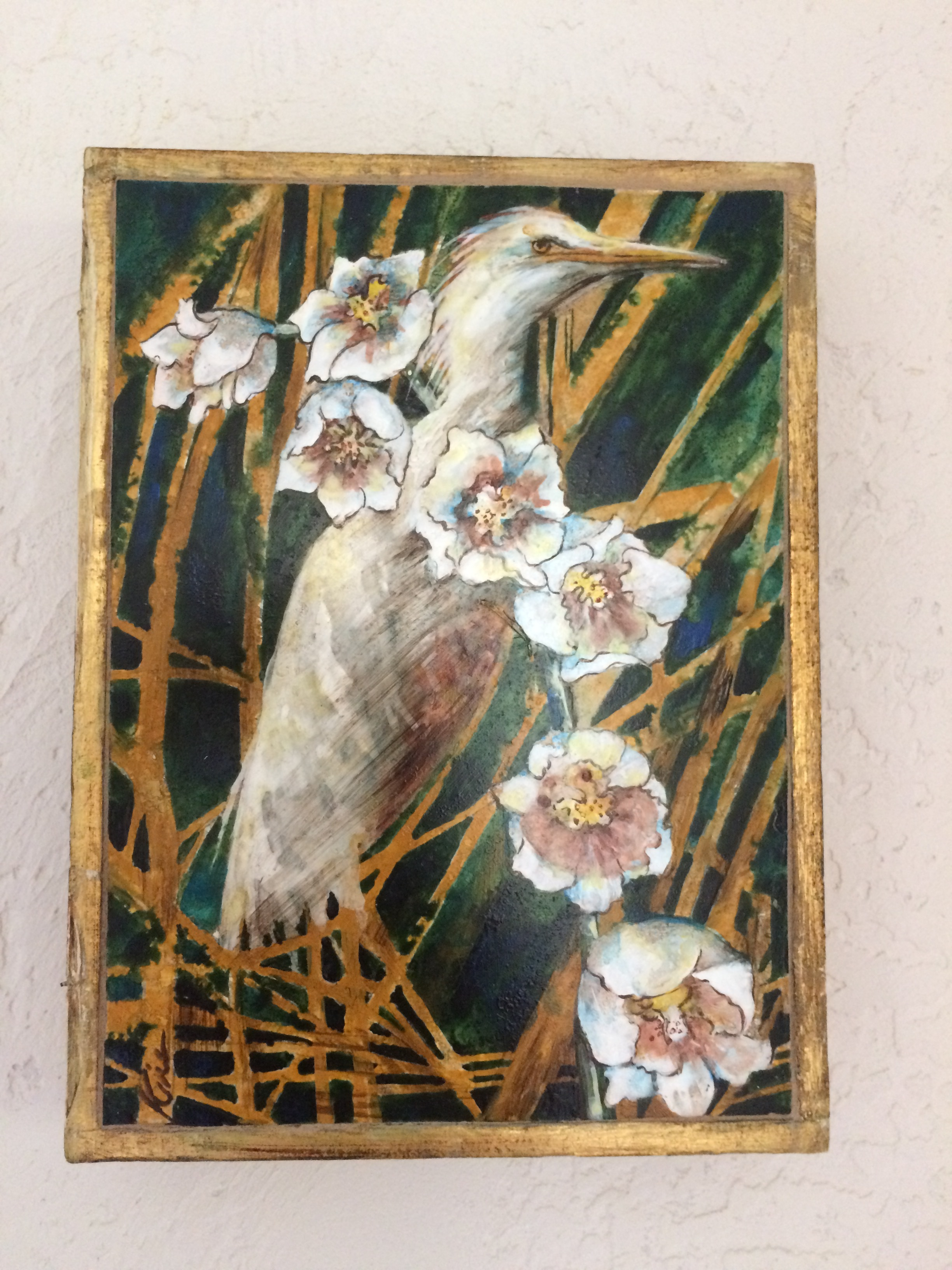"Juvenile Heron in Marsh Flowers stone painting in vintage Florentine box 6 1/2 "" x 9 1/2 "" SOLD"