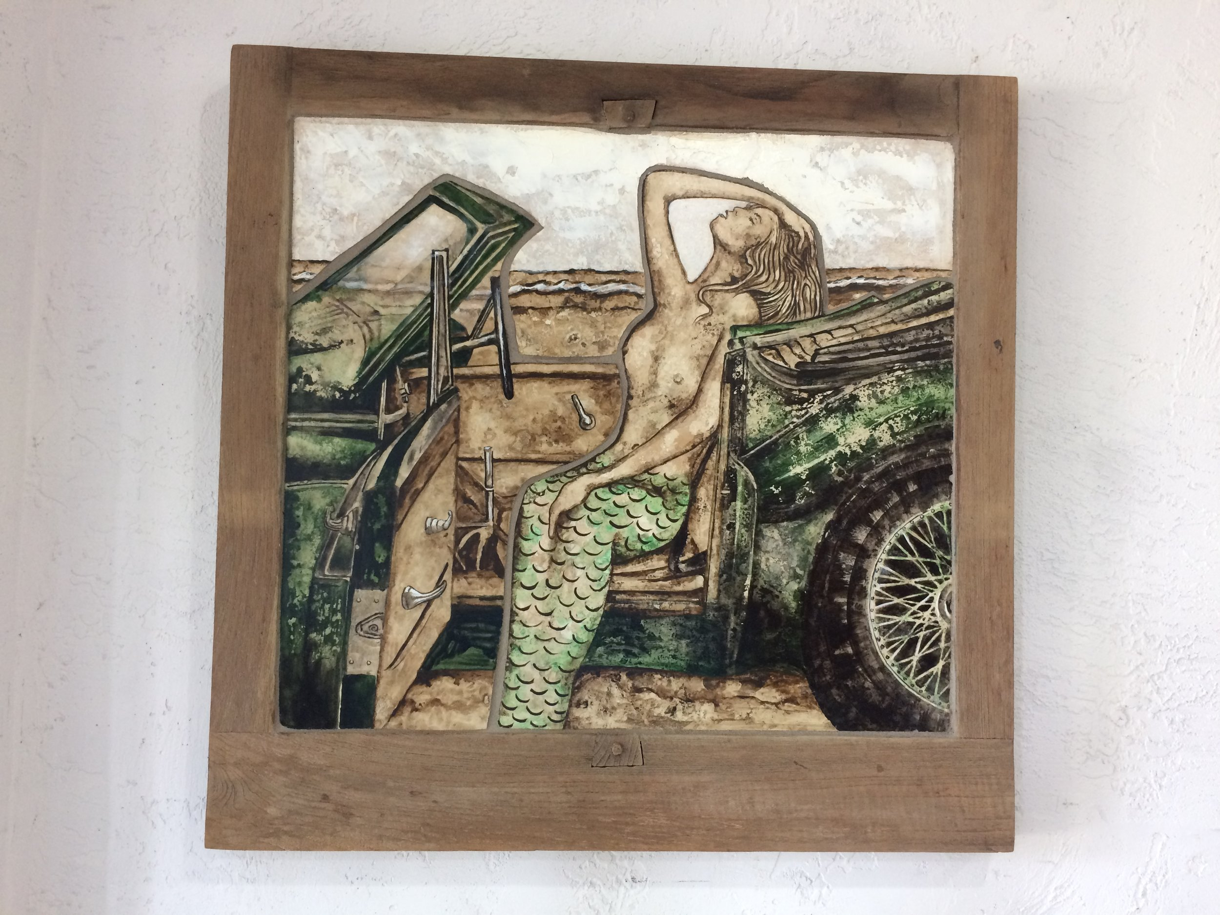 "Mermaid in Beach Car stone painting mosaic in teak wood frame, 24"" x 24""  SOLD"
