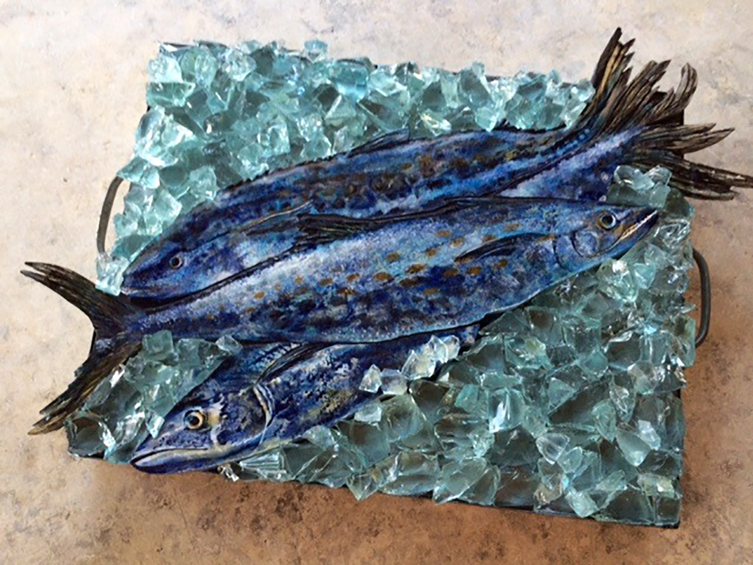 "Mackerel in vintage tin box, 13""x20""  SOLD"