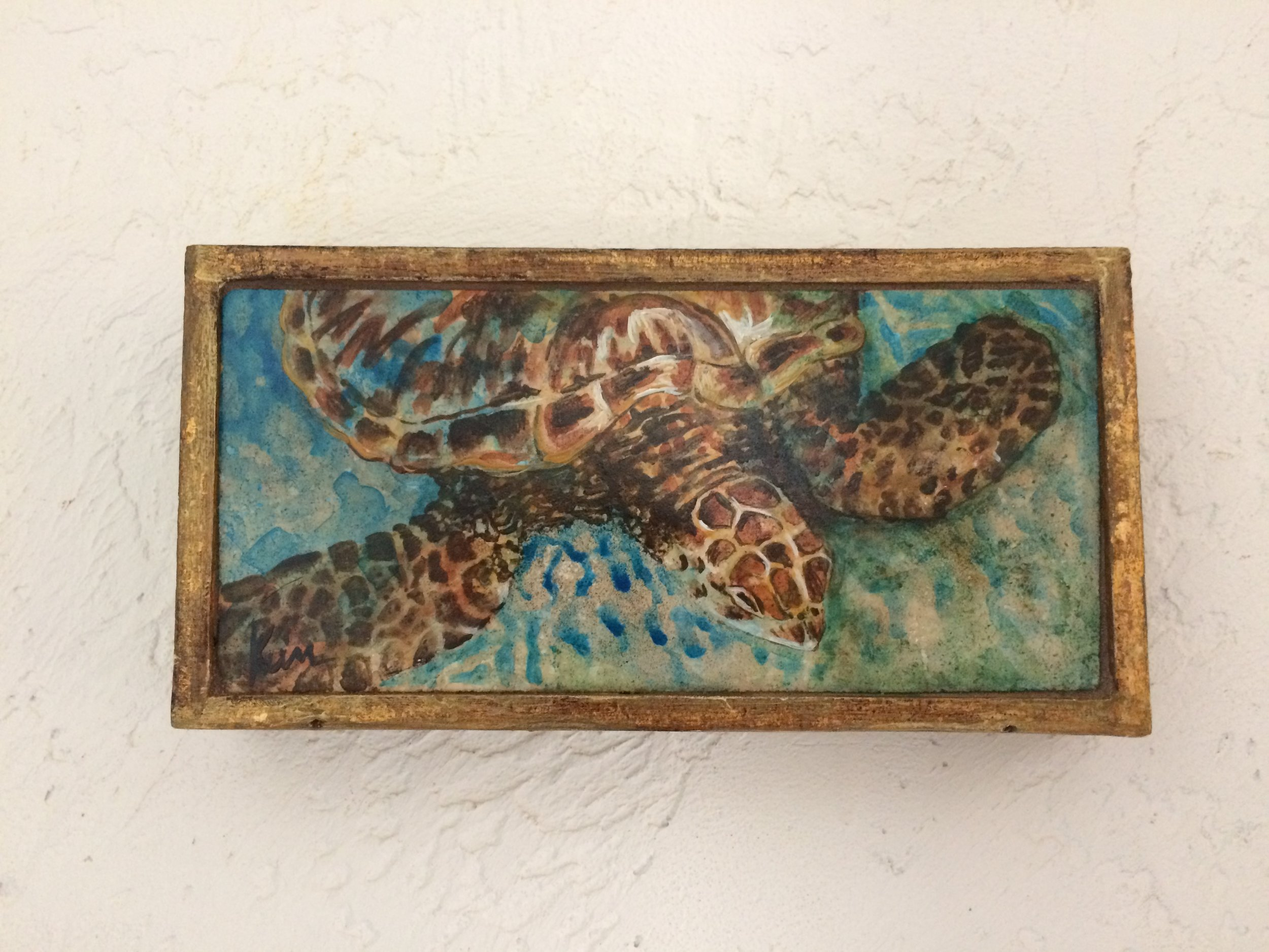 "Loggerhead in Shallow Water, stone painting in vintage Italian box , 8"" x 4"" SOLD"