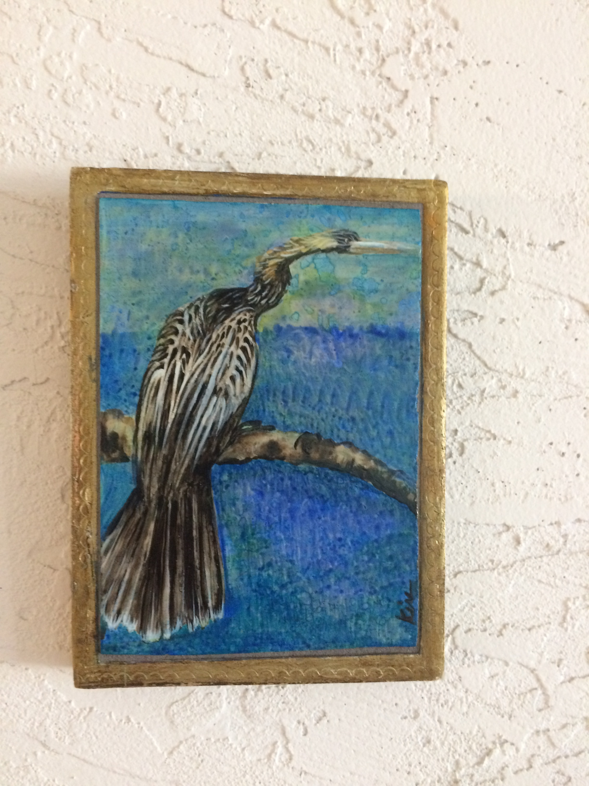 "Anhinga, stone painting in vintage gilded Italian box, 5"" wide x 7"" tall  SOLD"