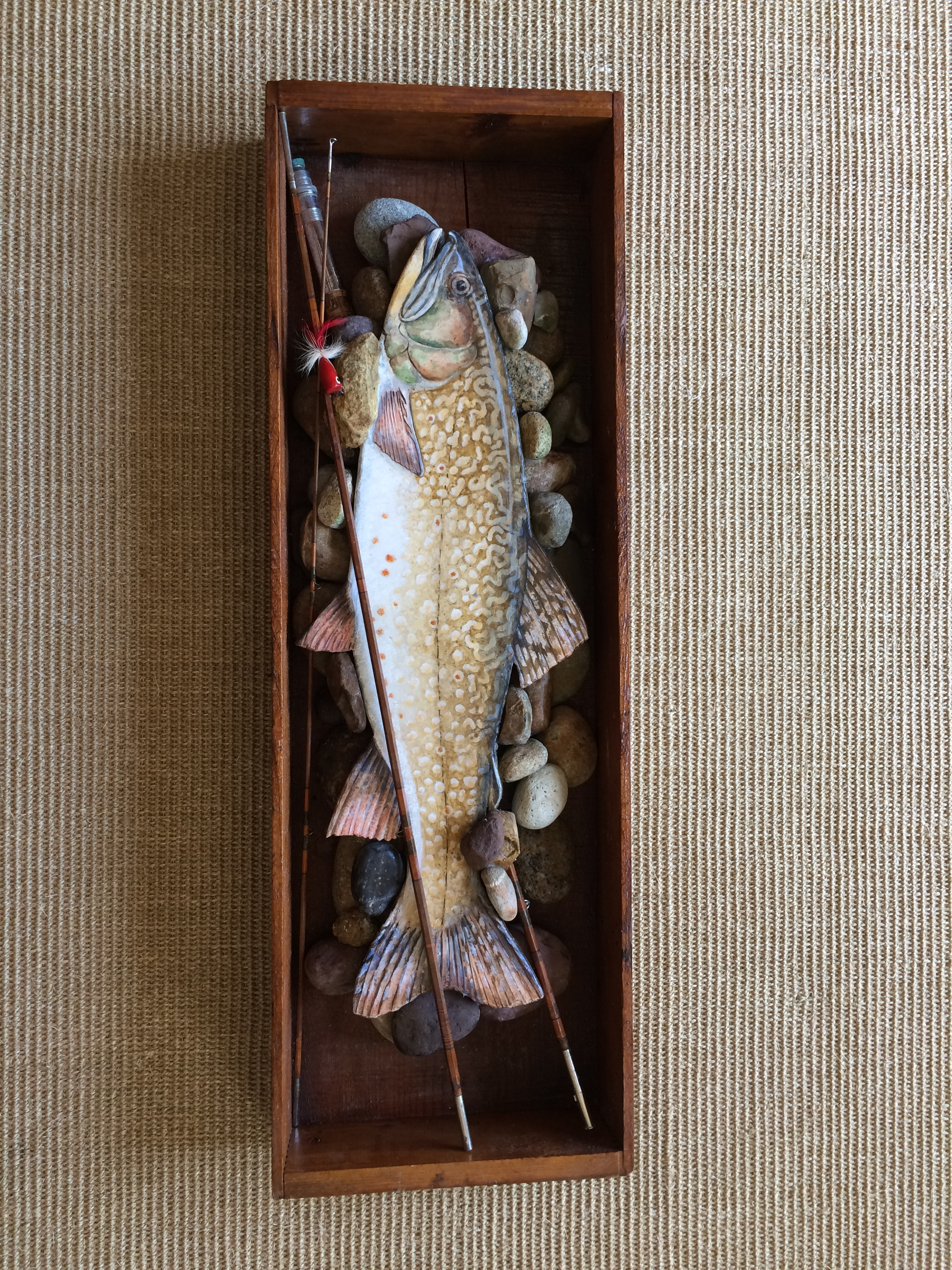 "Brook Trout in vintage wood box and bamboo fly rod on river rock 20"" x 32"" SOLD"