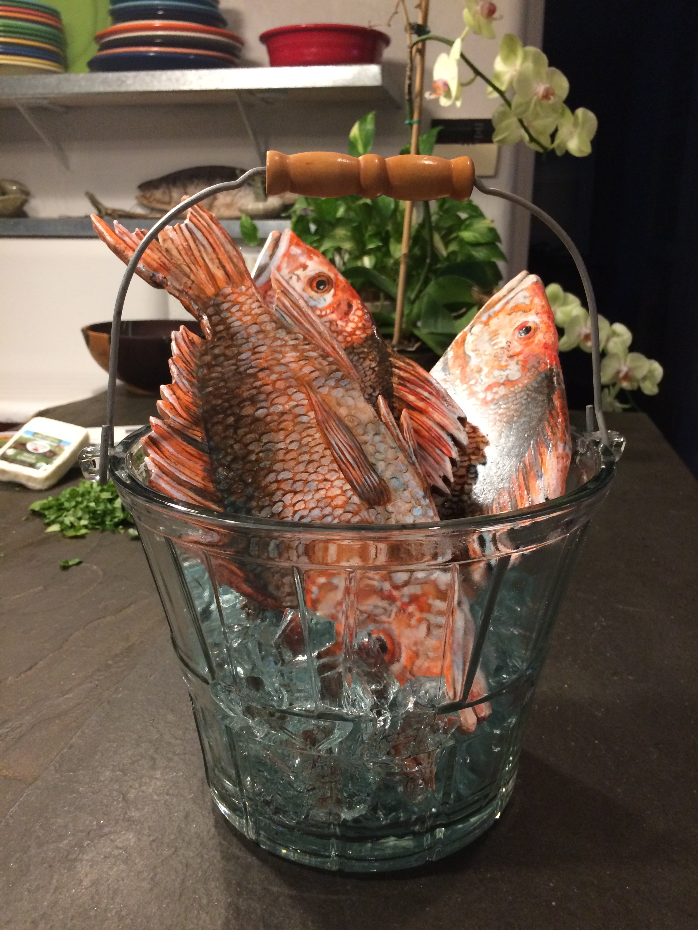 "Three Snapper in a Glass Bucket on glass ice, stone painted fish, 11"" wide x 12"" tall x 11"" deep SOLD"