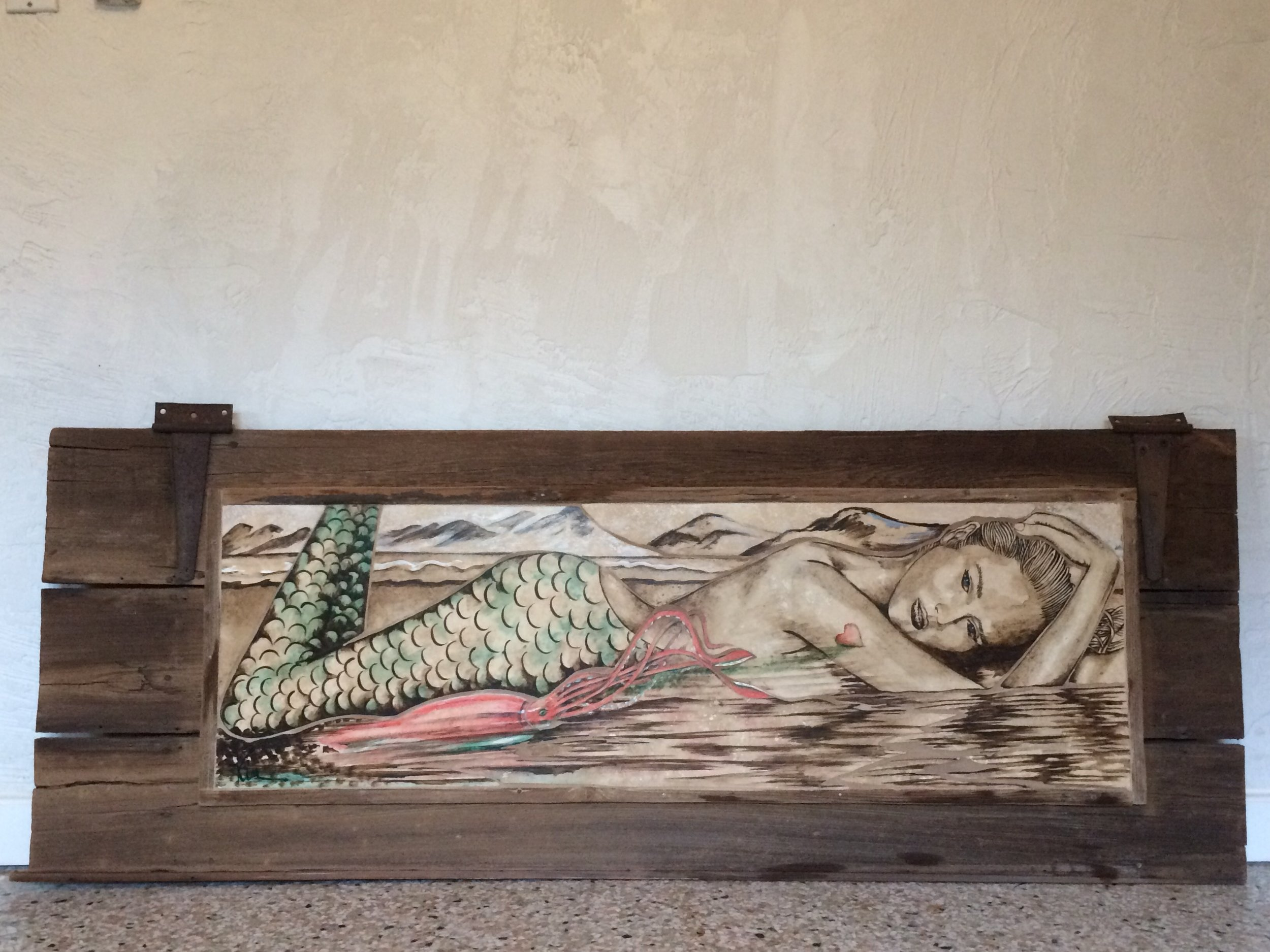 The Mermaid, Squid, and the Tattoo, stone painted mosaic in vintage wooden gate door SOLD