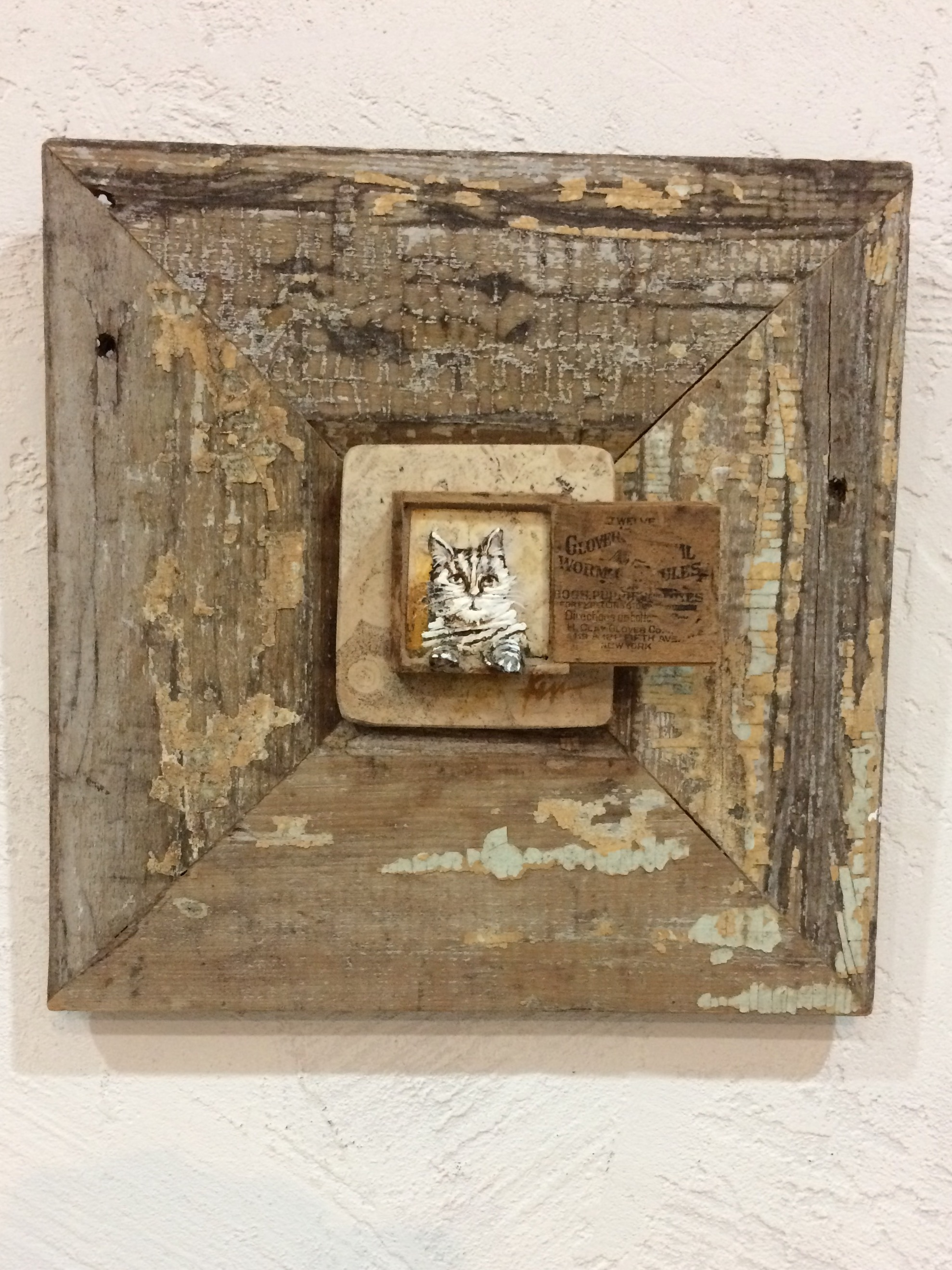 "Chloe...stone painting in vintage pet pill wood box and column base, 11"" x 11""SOLD"