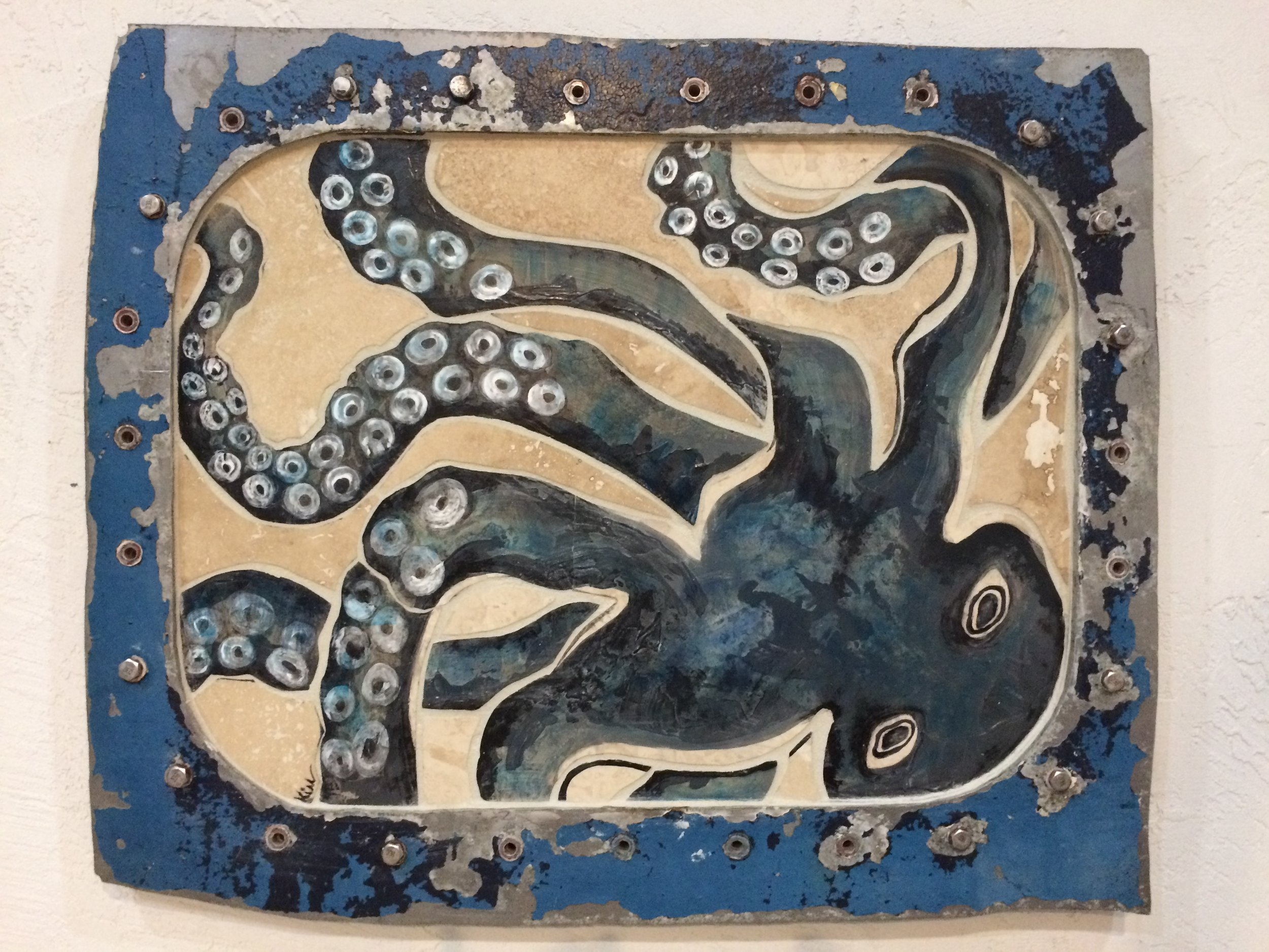 "Octopus and Ship..stone painted mosaic in vintage ship window, 28"" x 23"""