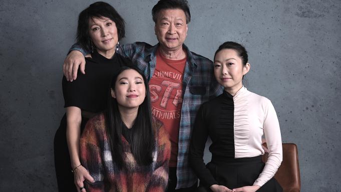 "Clockwise from Top: Diana Lin (""Jian""), Tzi Ma (""Haiyan""). Lulu Wang (Writer/Director), and Awkwafina (""Billi"")."
