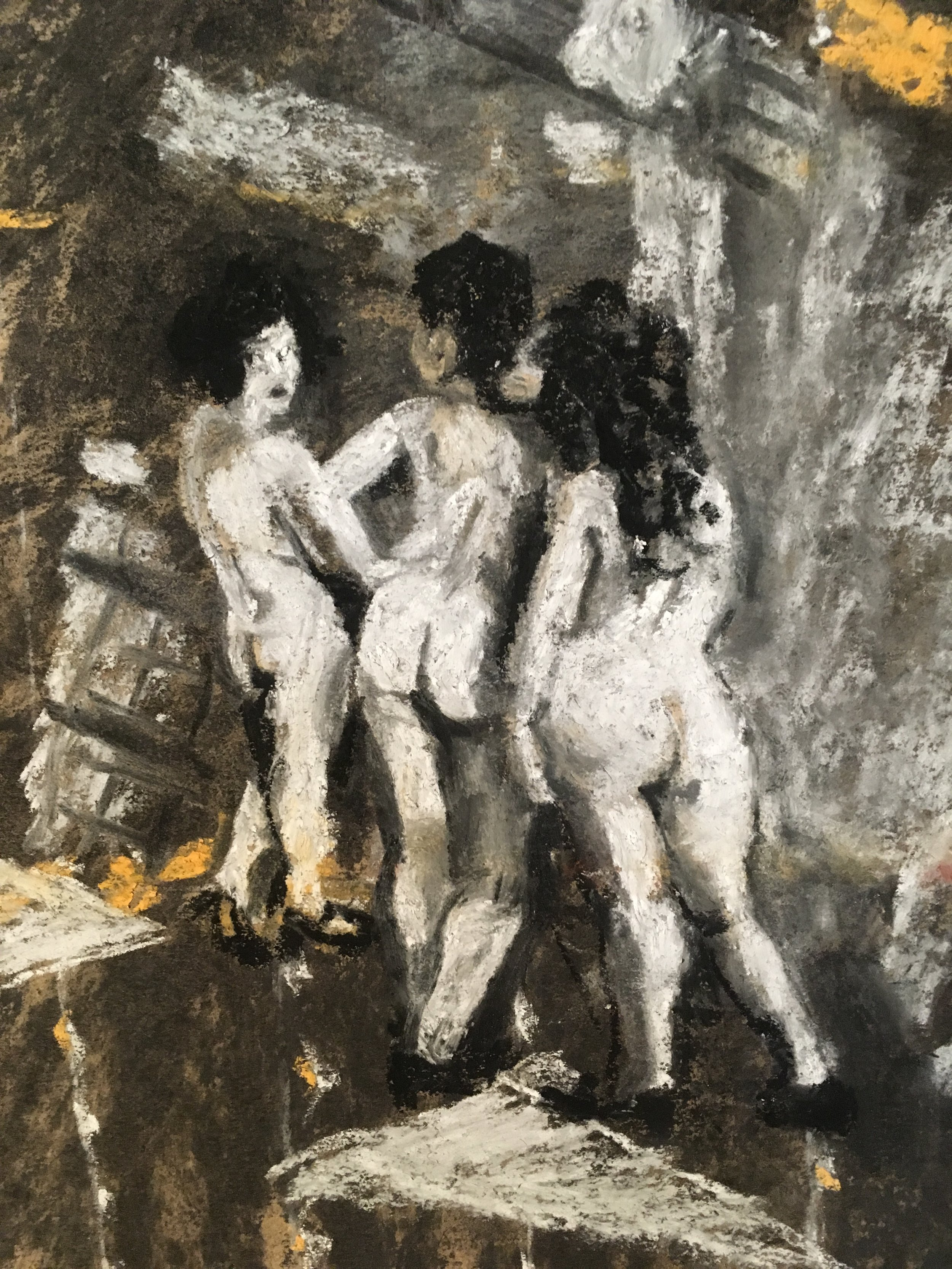 detail of the Three Naked Ladies