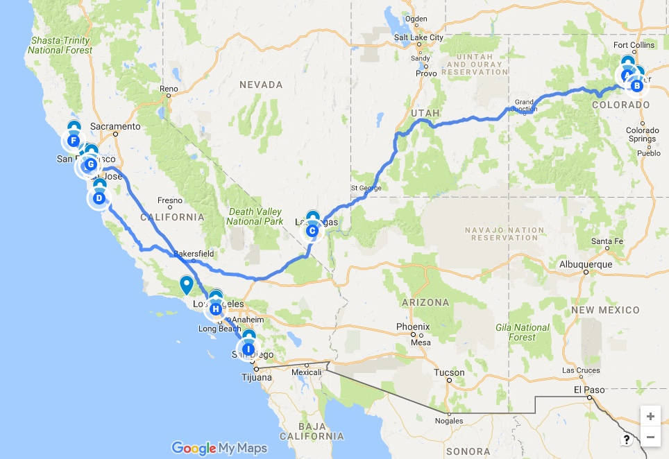 My originally planned tour route (click to expand)