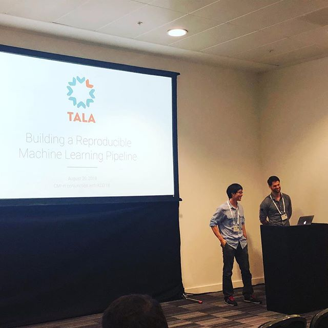 Tala data scientists Florian Hartl and Peter Sugimura present on building a reproducible machine learning pipeline at #kdd2018, the world's largest data science conference!