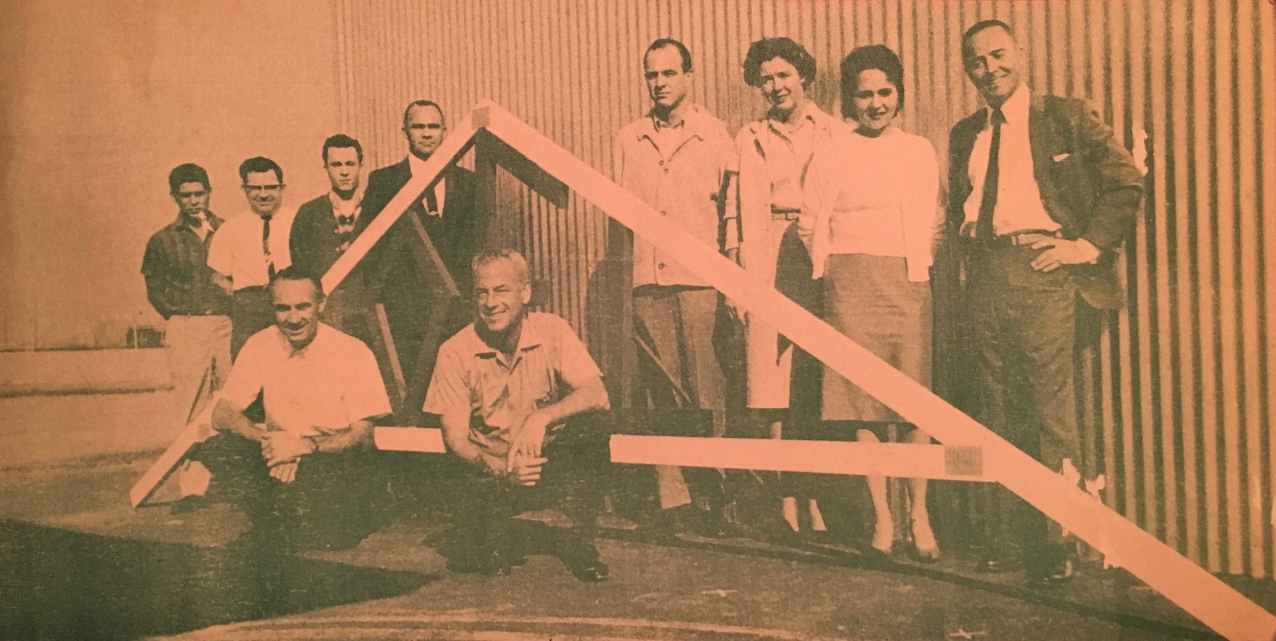 Tom Lyster on the right with Gang Nail Truss. This is the company that invented the Gang Nail plate that gets pressed into the lumber at the connection of the adjoining wood members.