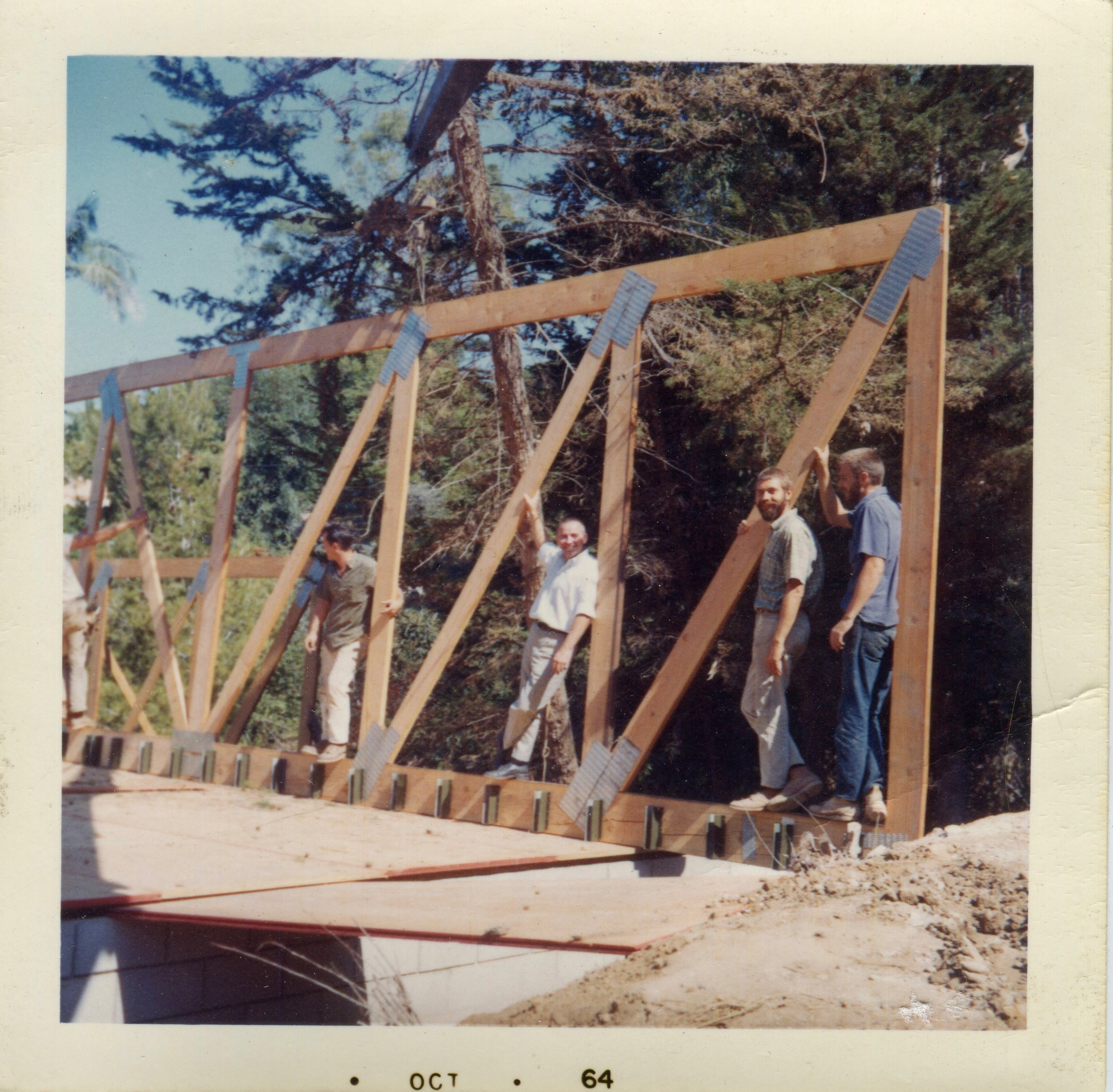 The second man on the Bridge Truss is Lamont and the third man is my Dad, Tom.