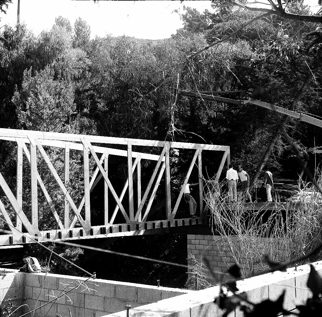 Here they are setting the second truss. The stream runs right under the house.