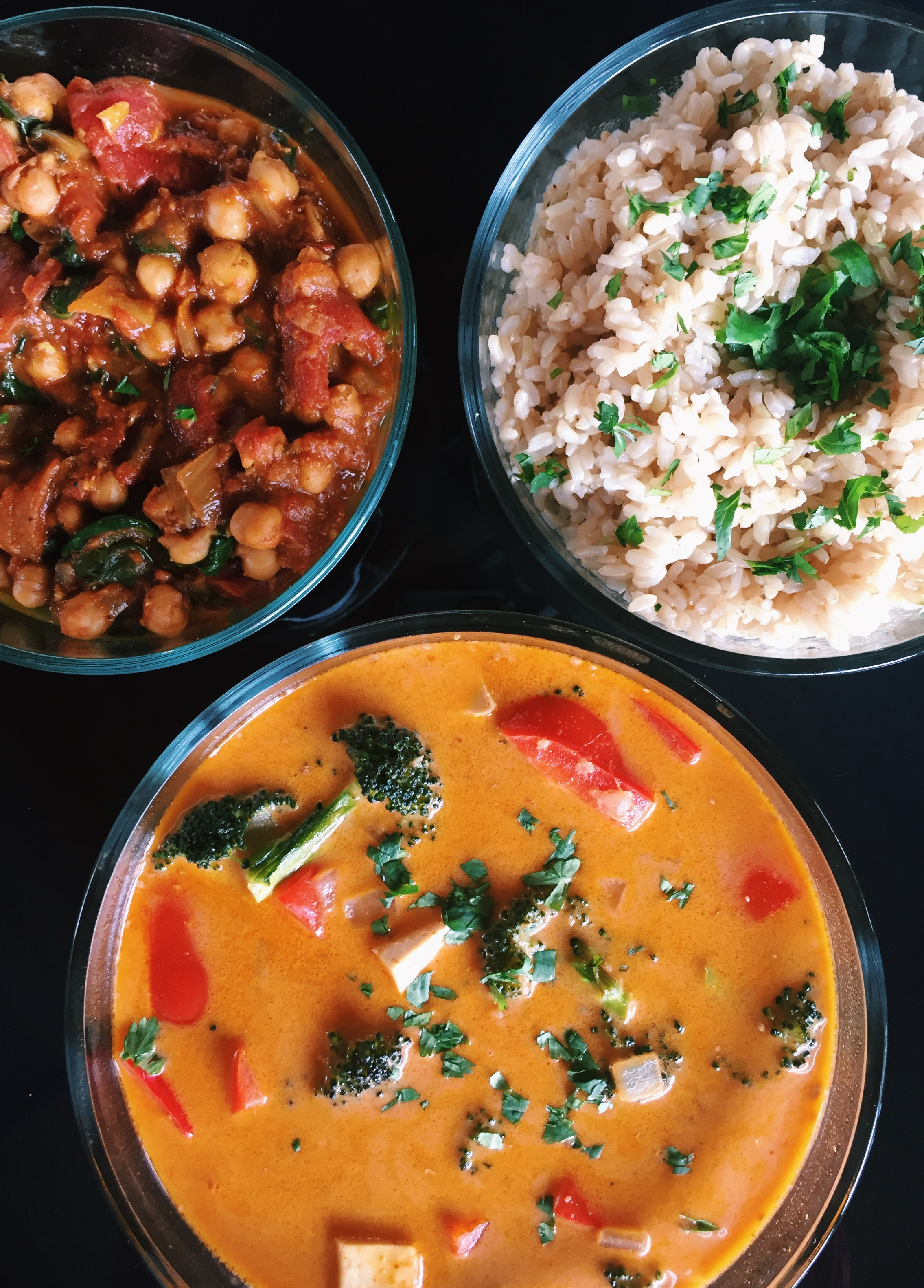 CHANA MASALA, THAI VEGETABLE CURRY, BROWN RICE