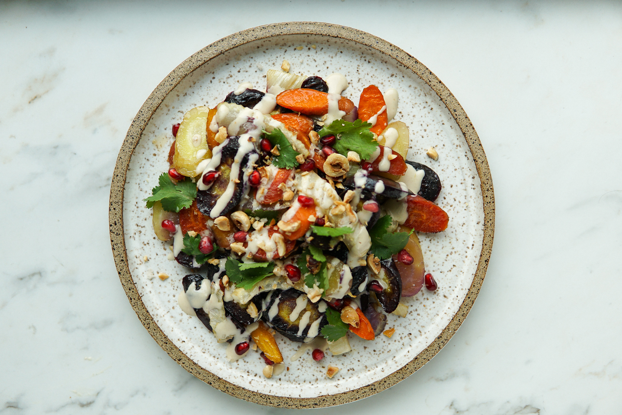 Roasted Carrots and Fennel with Miso Tahini Sauce