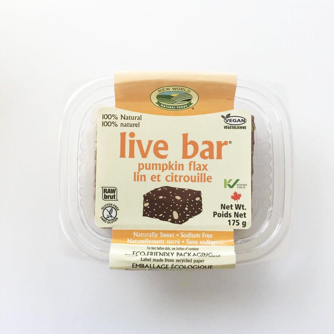 Pumpkin flax raw live bar