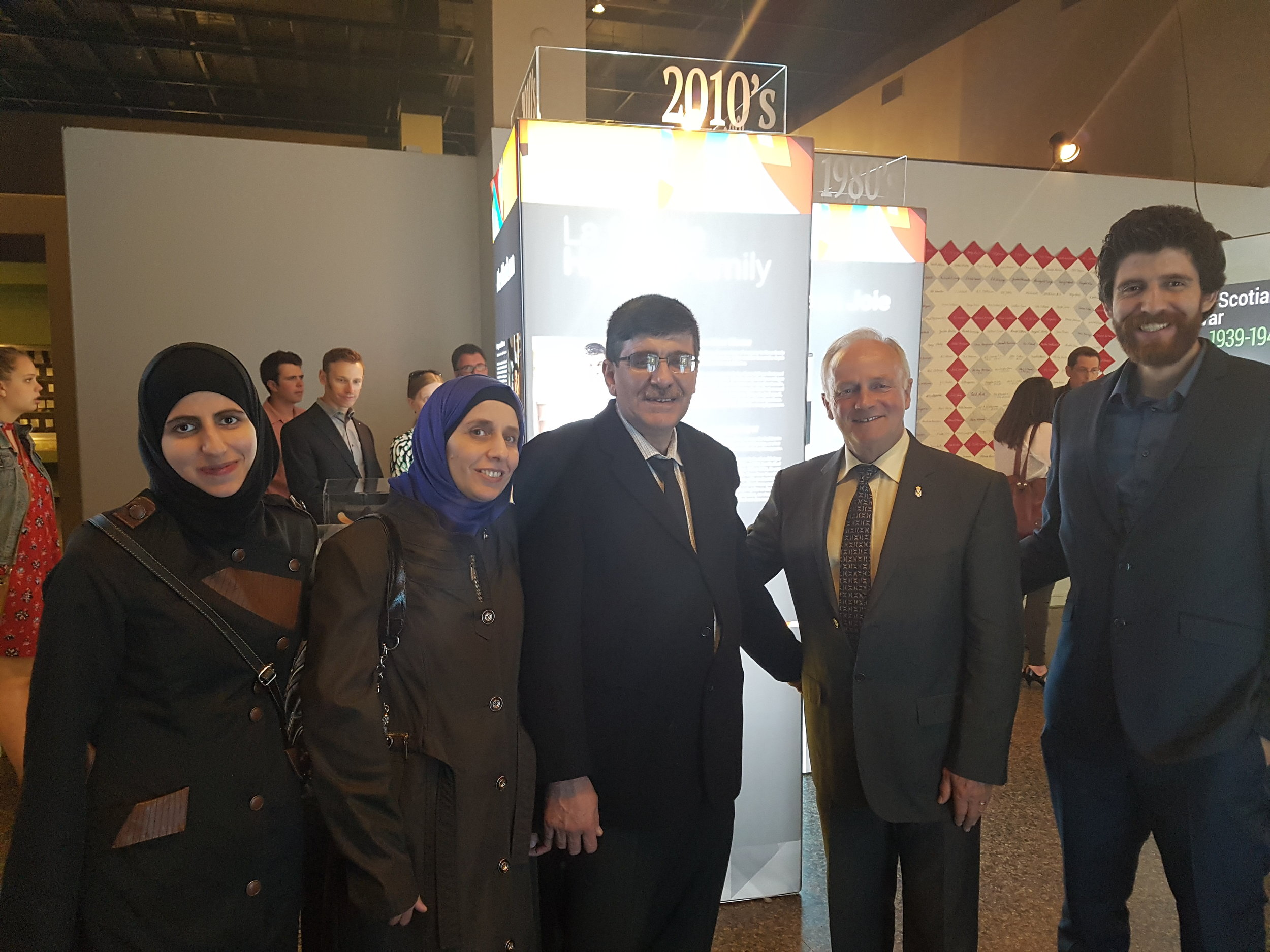 From left to right: Alaa Hadhad, Shahnaz Naisa, Isam Hadhad, Right Honorable Ministerof Heritage Leo Glavine and Tareq Hadhad celebrating the family mentioning at the Nova Scotia Museum of Natural History