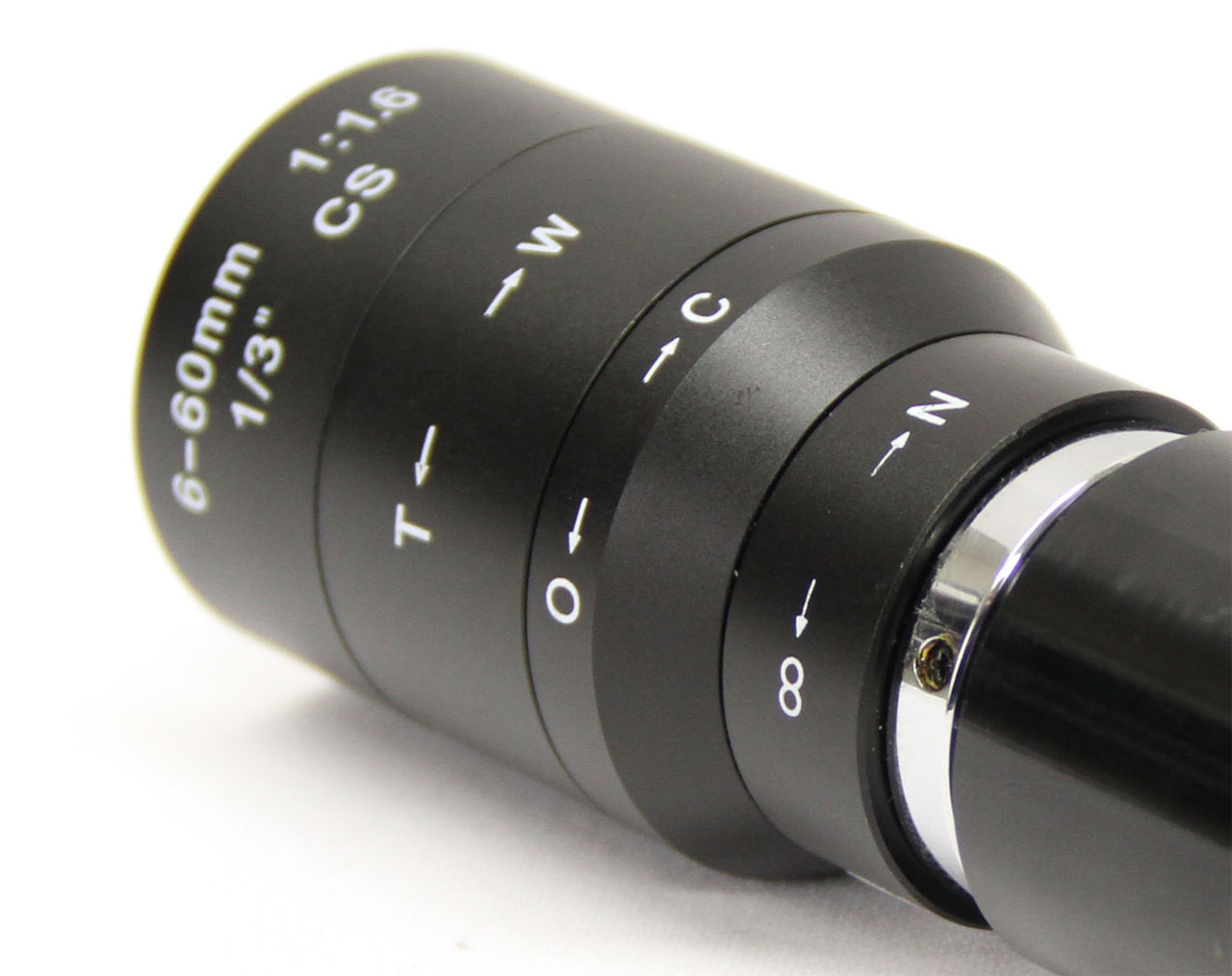 A close up of a microscopic lens for C-Mount cameras.