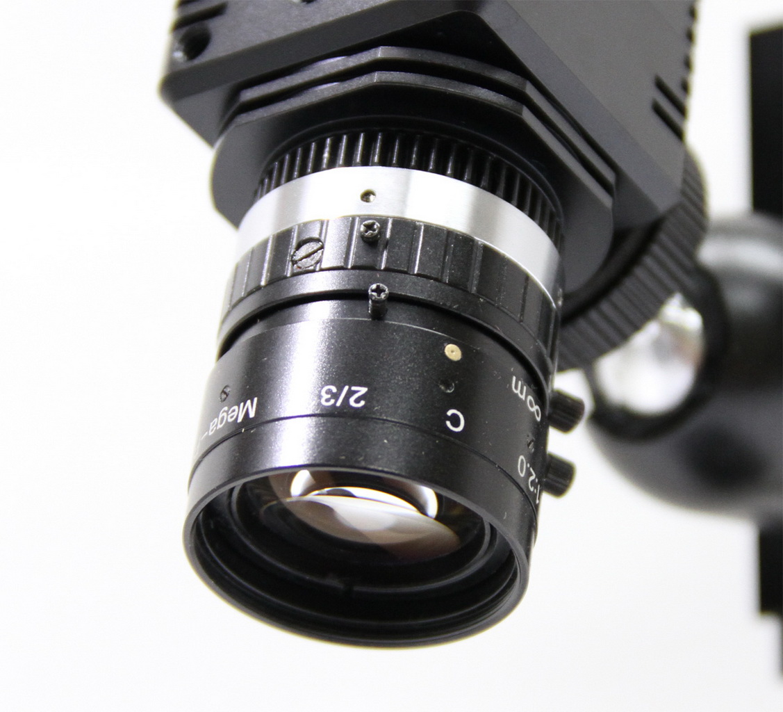 Another view of the microscopic lens mounted on a C-Mount camera.