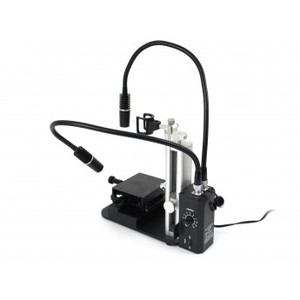 The flexible, high powered MSAK813 dual articulating spot light shown from rear angle with RK-10A stand and MS15X-S2 base.