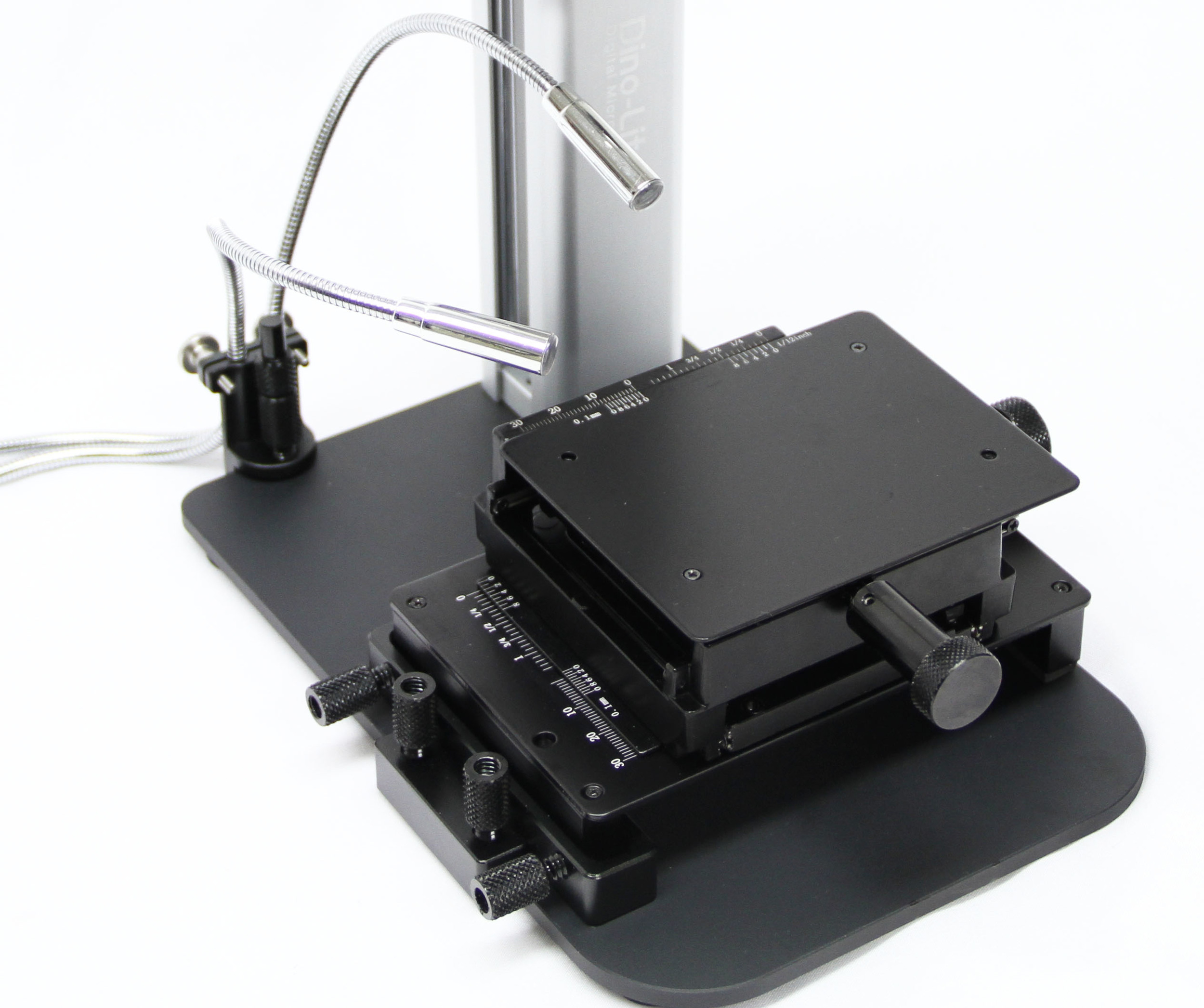 The MSAK812 dual articulating LEDs shown attached to the RK-10A stand with MS15X-S2 XY platform.