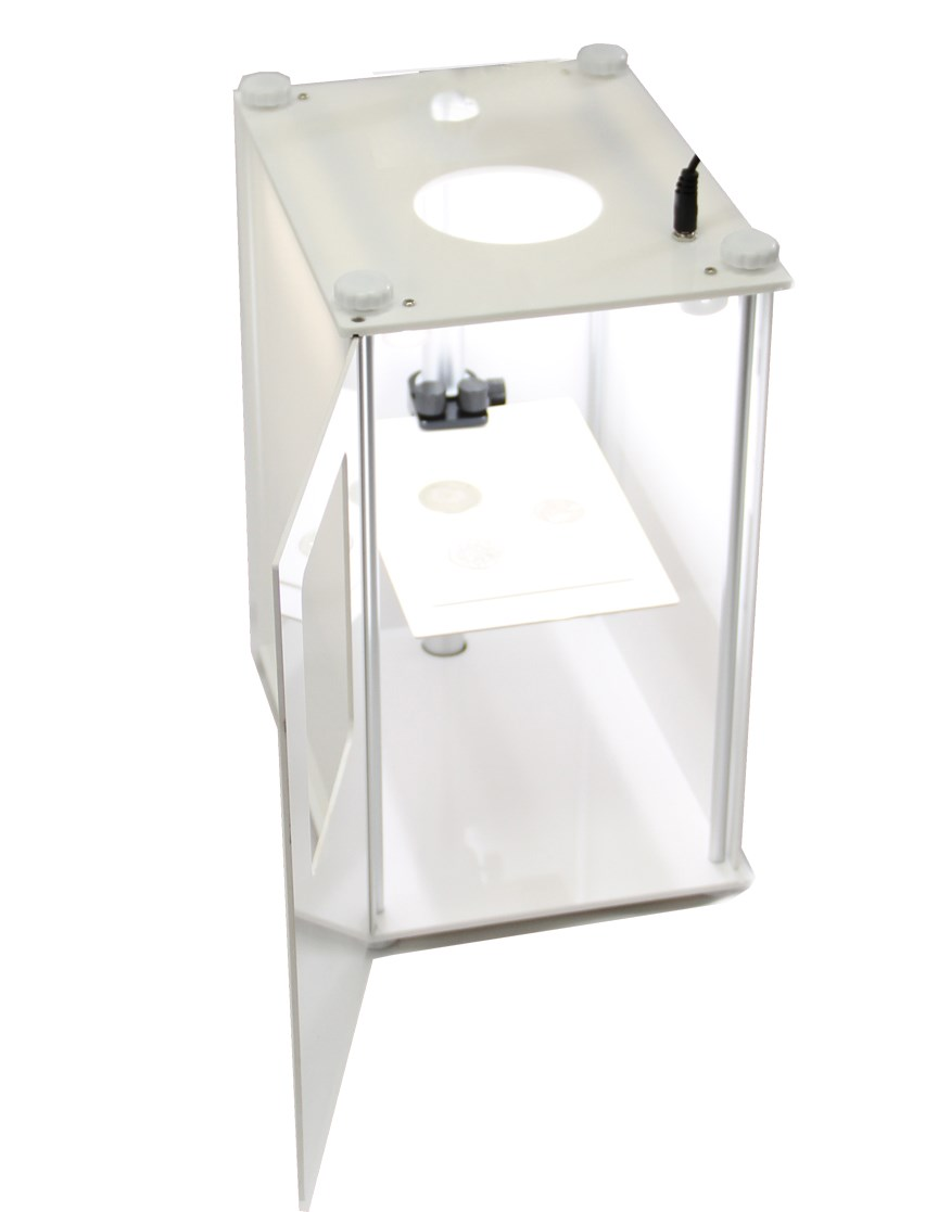 Premium photo box / booth shown with open door to reveal powerful LED illumination.