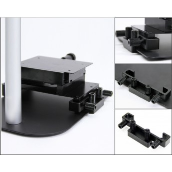 Detailed images of the mounting mechanism for the MS15X-S2 base for re-positioning objects under microscopes.
