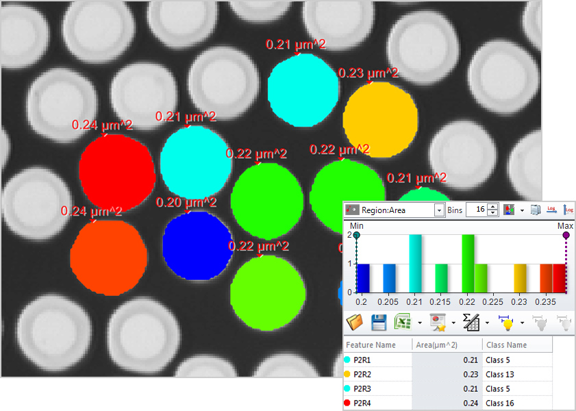 Example of automatic counting shown with color classification based on object size.