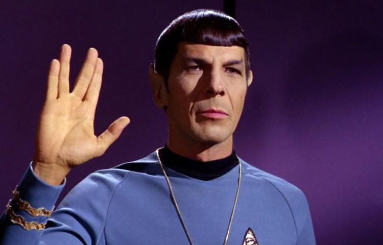 Leonard Nimoy, the actor for Spock in the original Star Trek, gives the Vulcan salute. Nimoy passed away in 2015. Photo courtesy of    TrekNews.net   .