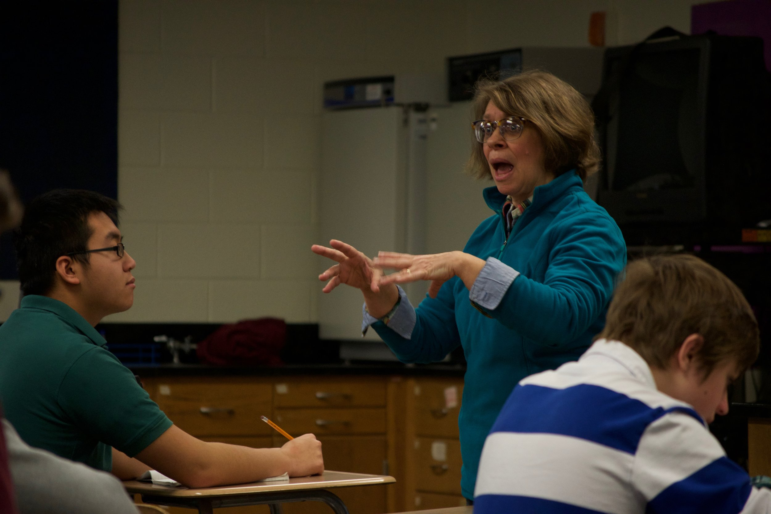 In the classroom, Mrs. Lounsbury ensures that every student understands every aspect of the courses. Photo by Connor Carp.