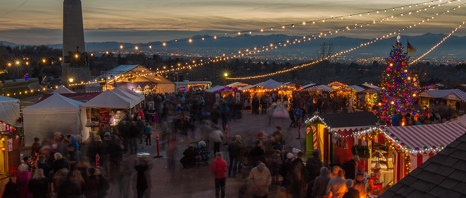 Christkindlmarkt at dusk at This Is The Place Heritage Center, SLC (across from Hogle Zoo)