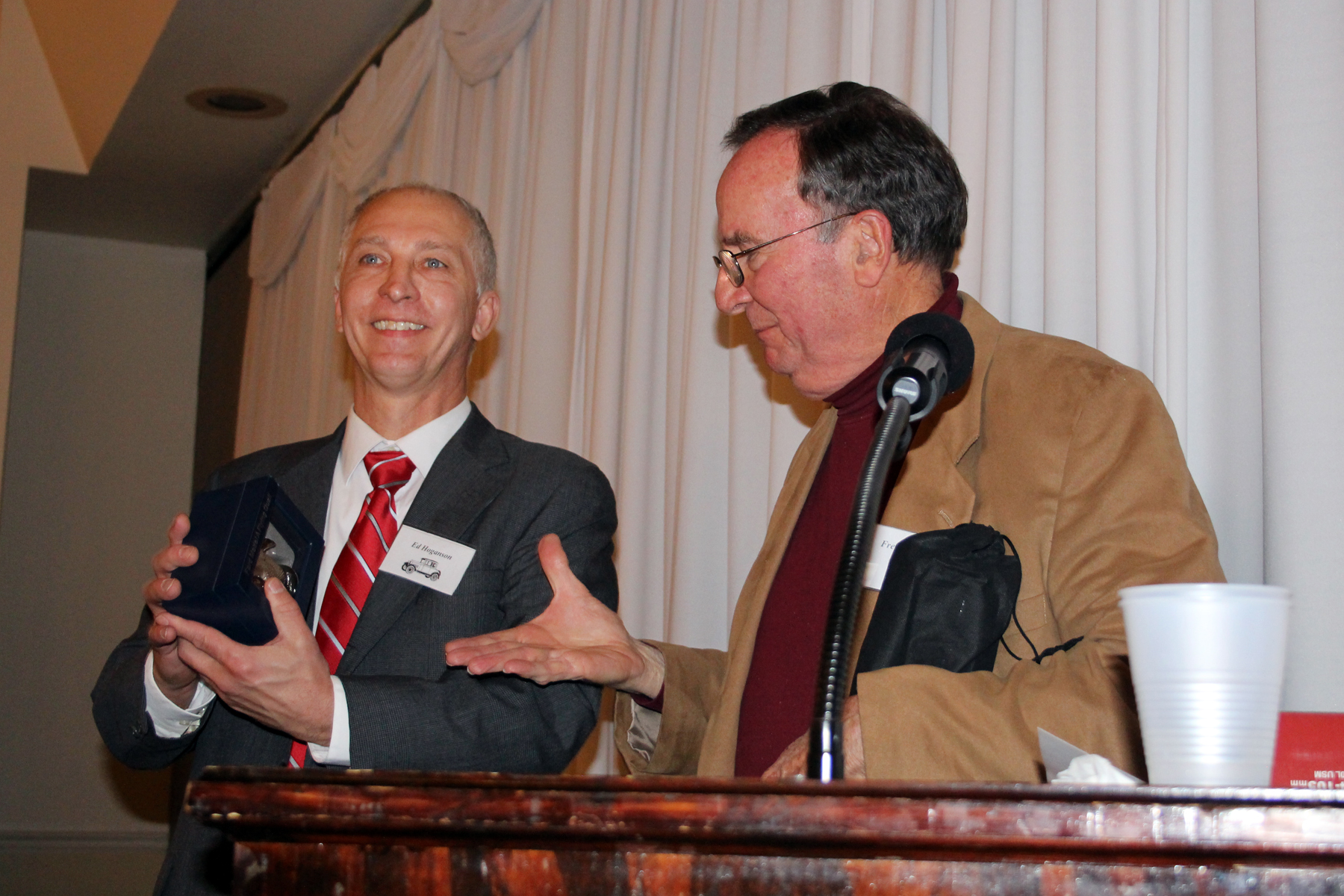 Outgoing President Ed Hoganson with incoming President Fred Burk