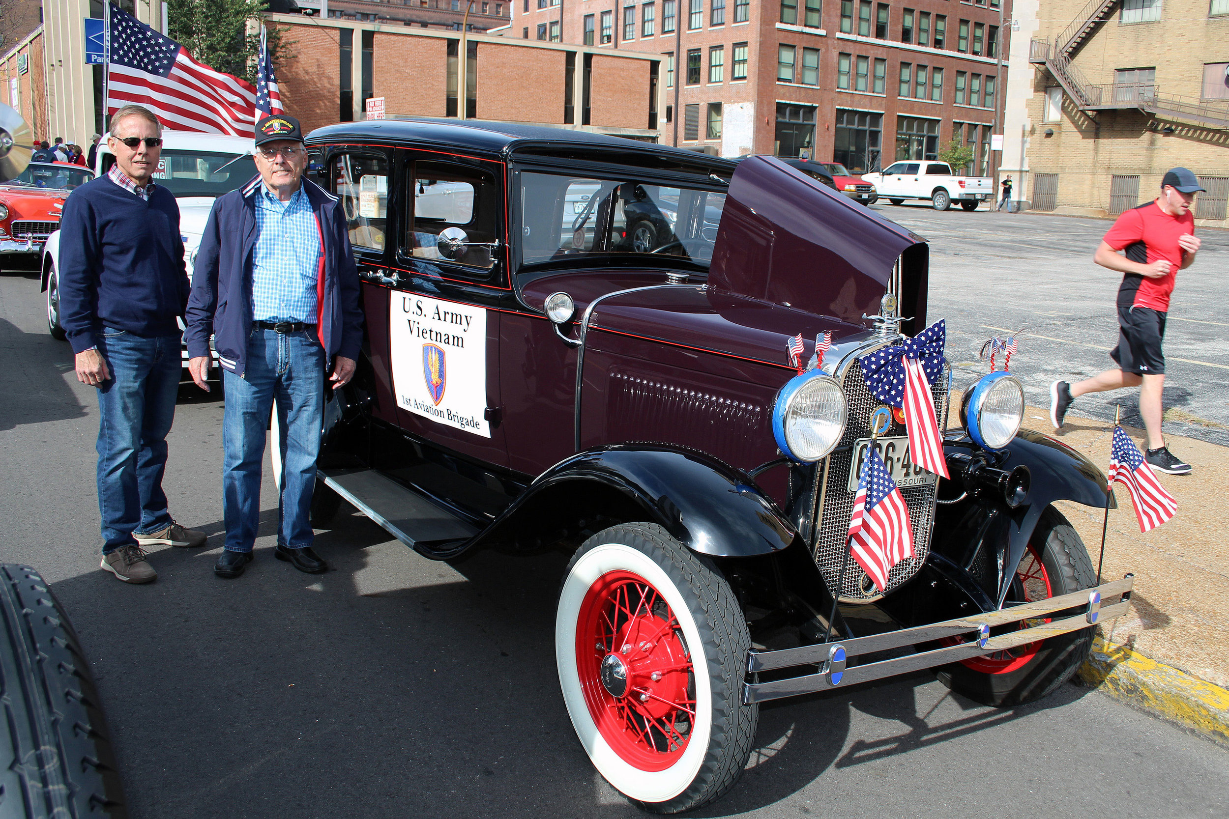 Vietnam Vet Mike Piel with Greg & Greg's '31 Town Sedan